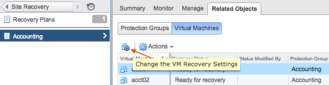 Change the Virtual Machine Recovery Settings