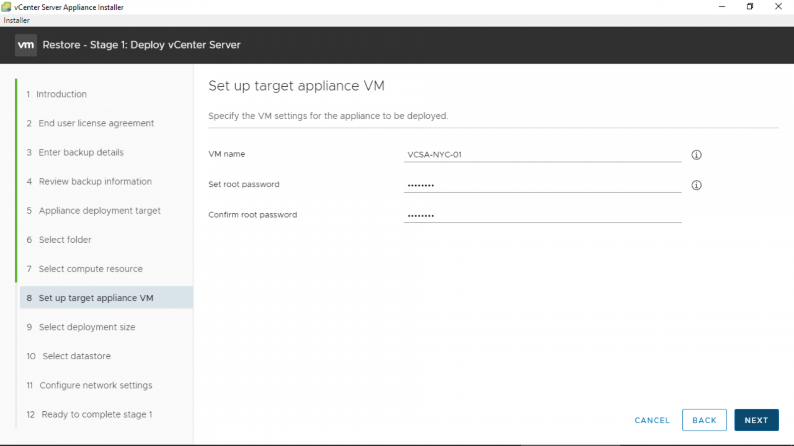 Select the compute resource to deploy the vCenter the vCenter Server Appliance to and click [Next].