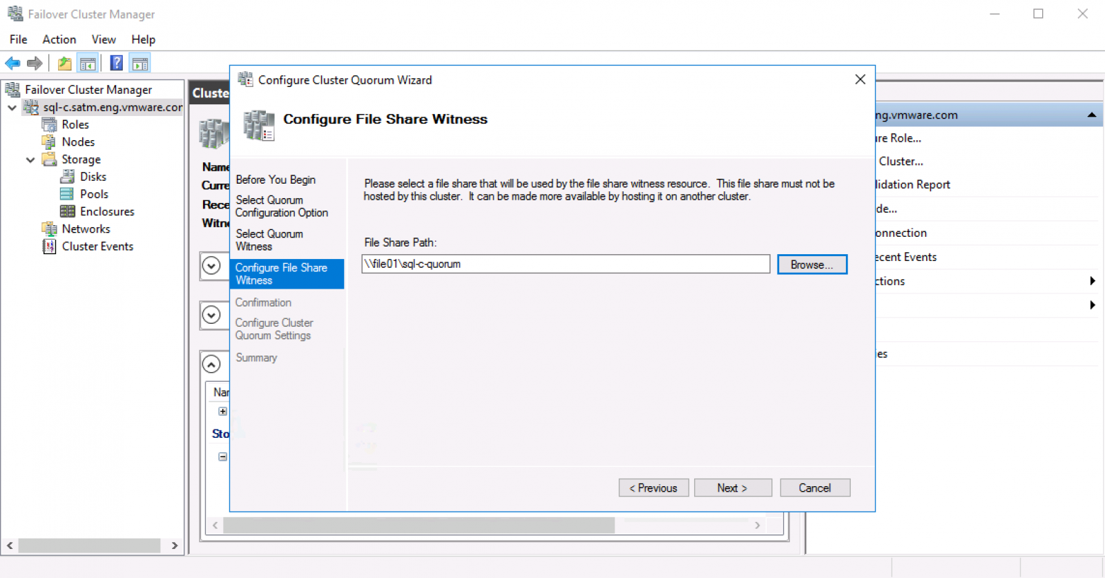 Migrating Windows shared disk quorum to File Share Witness