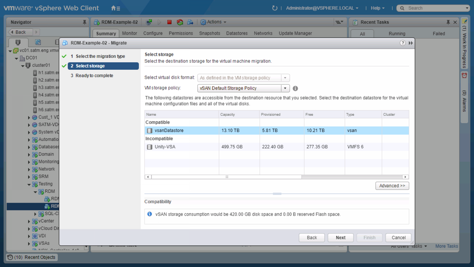 Change the policy to your chosen SPBM policy and choose the target vSAN datastore