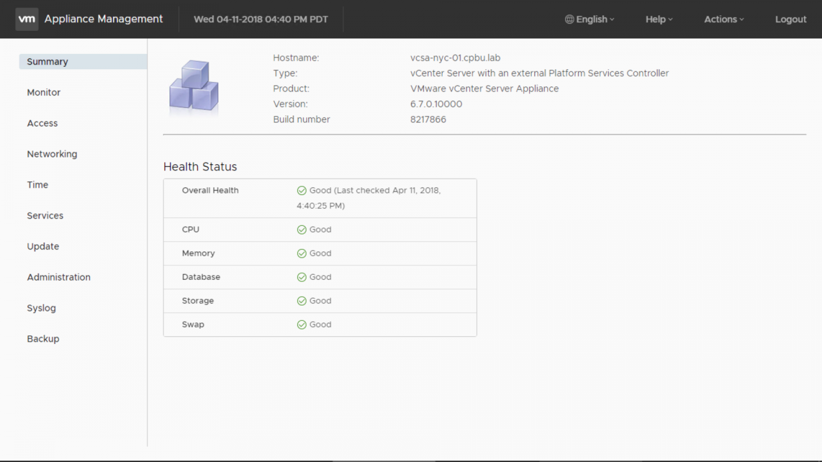 On the VMware Appliance Managment, provide the vCenter Server root account and password. Click on [Login].