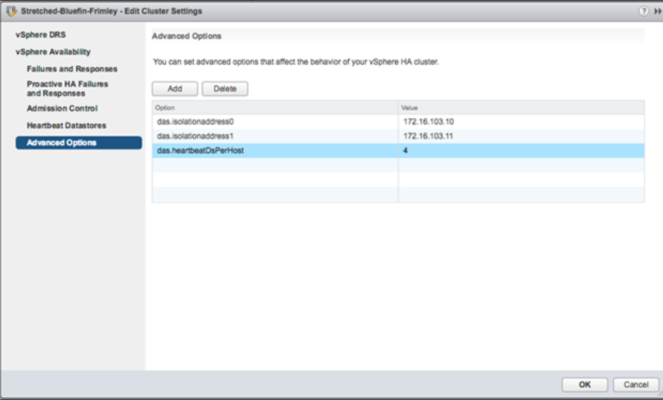 vSphere HA Advanced Options