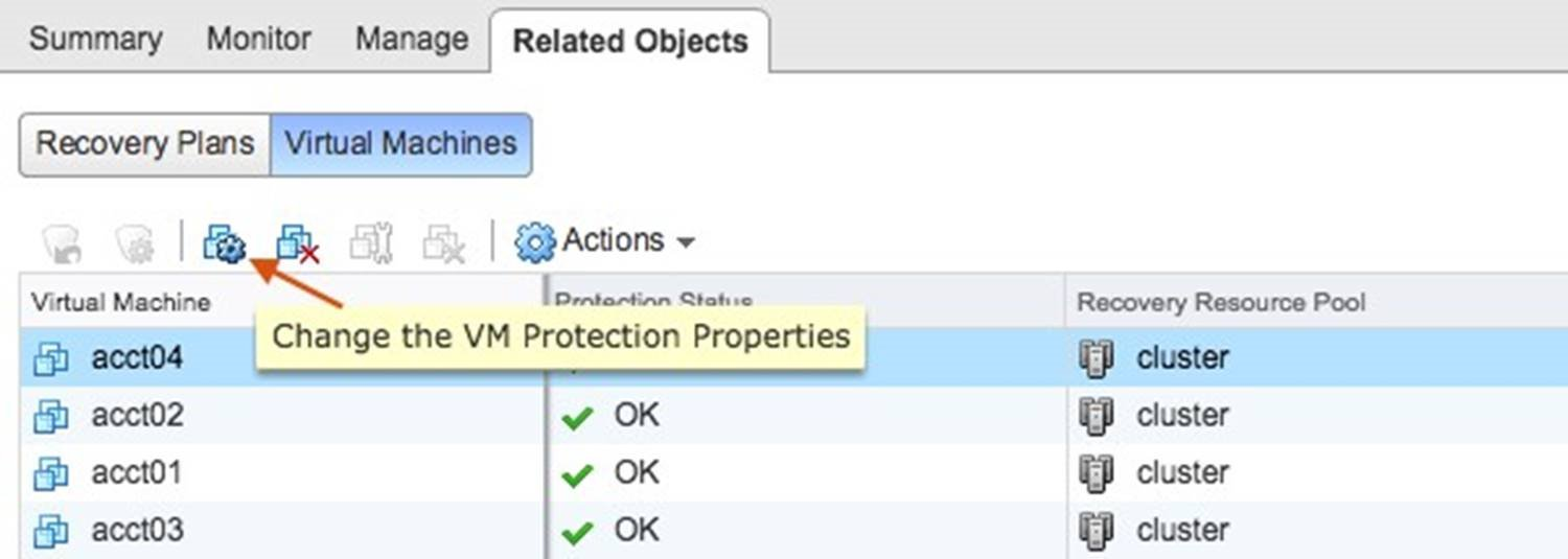 Change the Virtual Machine Protection Properties
