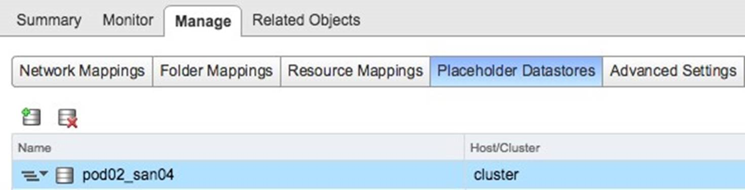 Placeholder Datastores in the Site Recovery Manager User Interface